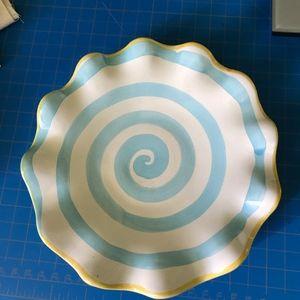 "Adorable Mackenzie-Childs Fluted 7.5"" Blue Swirl P"